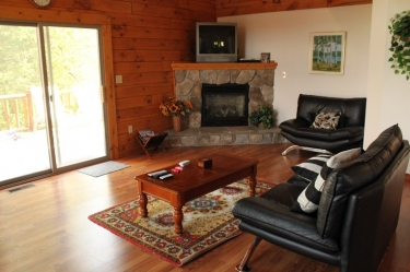 Zen Cabin has a spacious living room with a fireplace