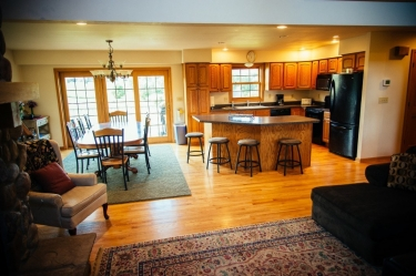 This Galena Cabin has a spacious kitchen and dining area