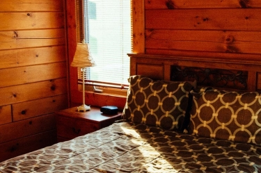 The Zen Log Cabin has a comfortable king size bed